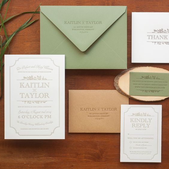 Christa Alexandra Designs | Wedding Invitations Stationery Reply Card | Leaves Border Simple Typography Taupe Sage Green Modern