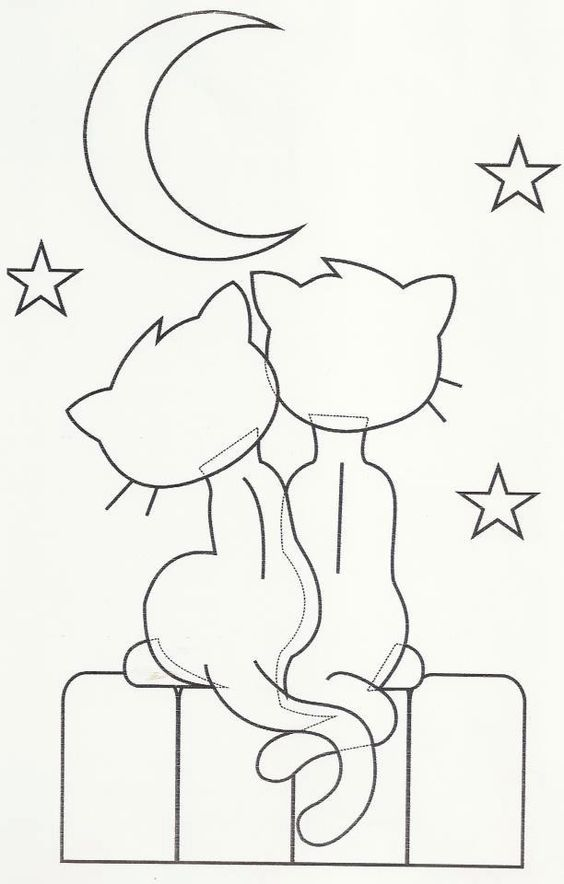 Hand embroidery design cats and a moon riscos - Aplicacion para pintar casas ...