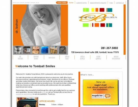 Tomball Smiles, Heather Bohan, DDS- This is a custom website design using the latest in CSS, PHP and JavaScript. This website also has a custom programmed back admin which allows the office to update their page content on-the-fly. #websitedesign #drbohan #tomballsmiles #hyperlinksmedia