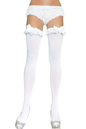 Thigh Highs With Satin Ruffle Trim & Bow 6010 Leg Avenue