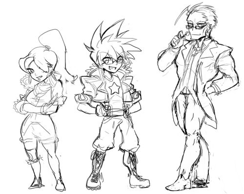 Some old chibis I drew of my original characters Tasha, Klaus, and (no name yet). I'm still working on the designs so I decided not to finish this D:!