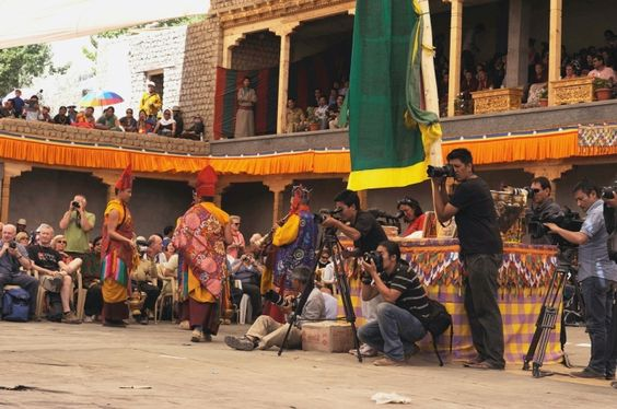 Photographers set up in the middle of the sacred dance ground like paparazzi, Sakti Gonpa, Ladakh, 2014. Photo by Jonathan Kendrew. From Core of Culture