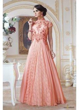 Georgette Semi Stitched Gown In Peach Colour
