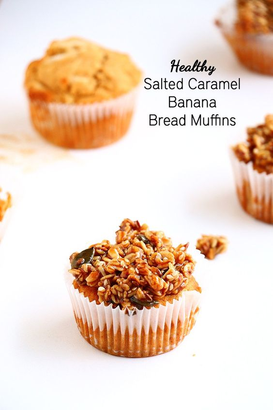 Salted Caramel Banana Bread Muffins - Vegan, gluten free and refined sugar free muffins that are simply delicious and decadent.:
