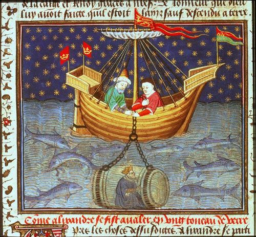 Illuminated manuscript from the XV century showing Alexander the Great's diving bell submarine.