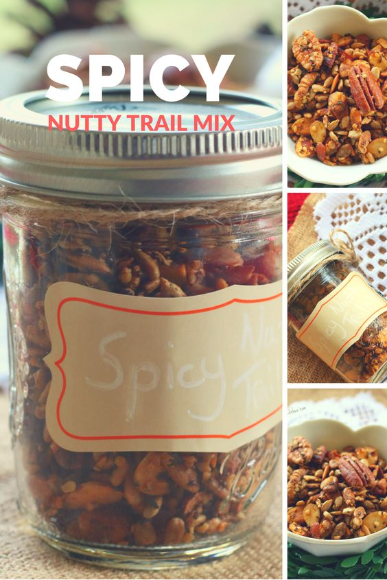 Spicy Nutty Trail Mix- a savory homemade snack that is low carb, thm s & gluten free.  Also makes a perfect homemade gift!
