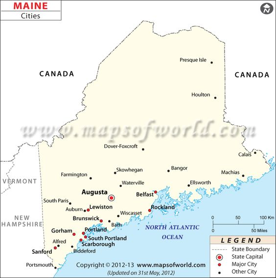 Maine City Map Major Cities Of Maine USA Maps Pinterest - Maine cities map