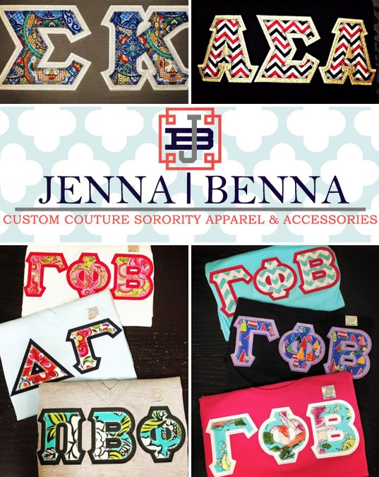 """NEW PREF PROMO CODE from sorority sugar Premier Tier Specialty Sponsor JENNA•BENNA!!!! ✿ USE CODE: """"JBCOSUGAR"""" for 15% OFF all short & long sleeve greek letter shirts!!! Jenna•Benna is offering this discount exclusively for sorority sugar followers for a limited time only. So place your custom spring orders NOW for the best greek stitch letters available! ✿ VALID UNTIL: 1/23/15! http://www.jennabenna.com"""