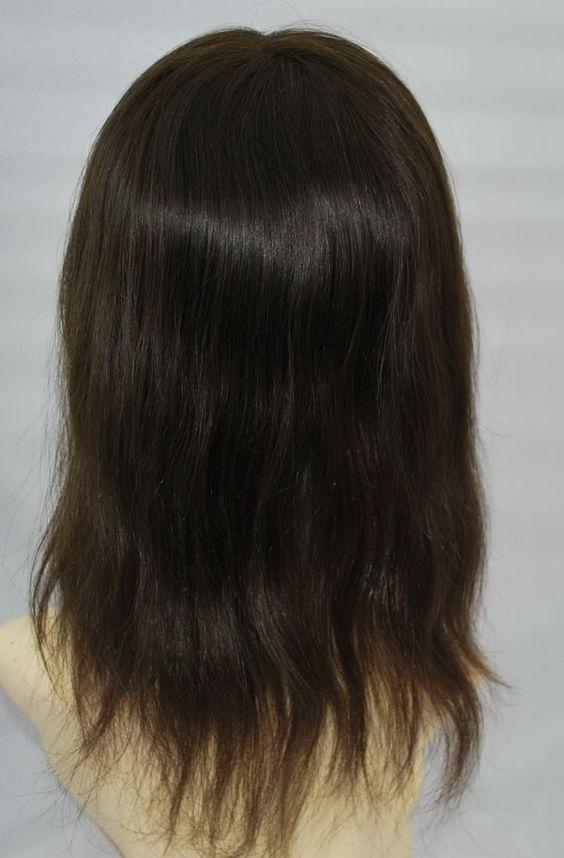 "Custom Full Mono Brazilian Dark Brown Straight Human Hair Toupee with PU 14""…"