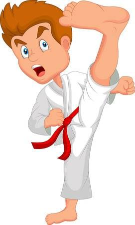 El Nino Pequeno De Dibujos Animados Entrenamiento De Karate Dibujos De Taekwondo Karate Karate Dibujo