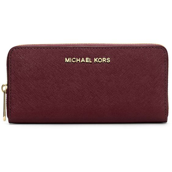 MICHAEL Michael Kors Jet Set Zip-Around Continental Travel Wallet ($138) ❤ liked on Polyvore featuring bags, wallets, merlot, red wallet, zip around wallet, saffiano leather bag, american bag and michael michael kors bags