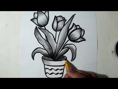 How To Draw A Flower Pot Charcoal Drawing And Shading Youtube Flower Drawing Flower Pot Art Shading Drawing