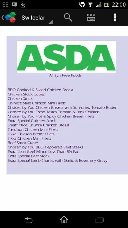 Asda Syn Free Foods Slimming World Pinterest Foods