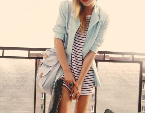 Recreate with blue and white sundress