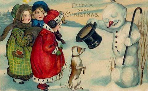 Cute vintage snowman Christmas card
