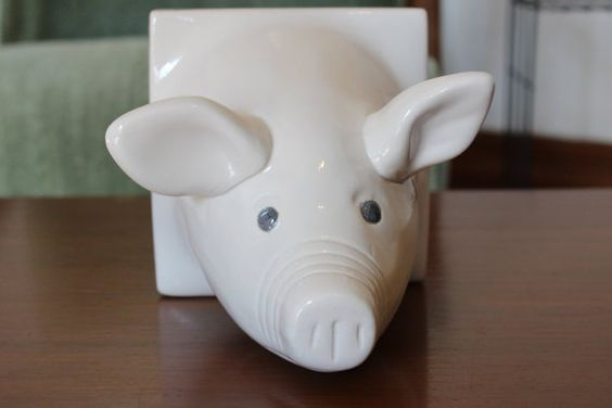 vintage pig head towel rack holder by bubblemars on Etsy