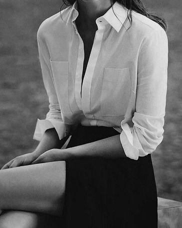 Chic Style - white shirt & side split skirt, black & white fashion