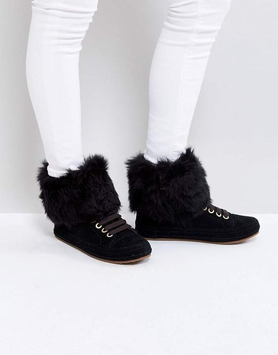 Ugg Antoine Fur Black Trainers..Boots