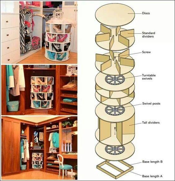 Zapatera giratoria nego pinterest almacenamiento for Zapateras de madera medidas
