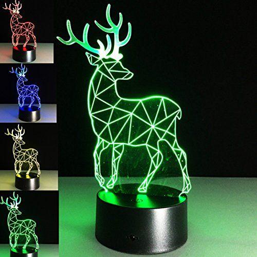 Superniudb 3d Creative Deer Visual 3d Night Light 7 Color Change