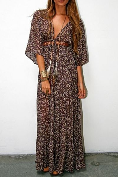 Tiny Floral Plunging Neck 3/4 Sleeve Maxi Dress COFFEE: Maxi Dresses   ZAFUL