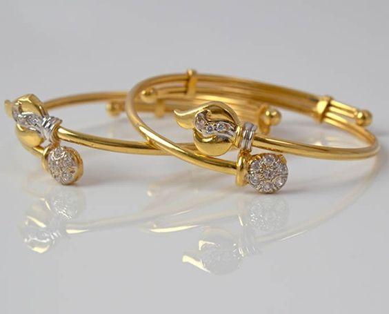 baby bracelets studded with diamonds gold jewellery n. Black Bedroom Furniture Sets. Home Design Ideas