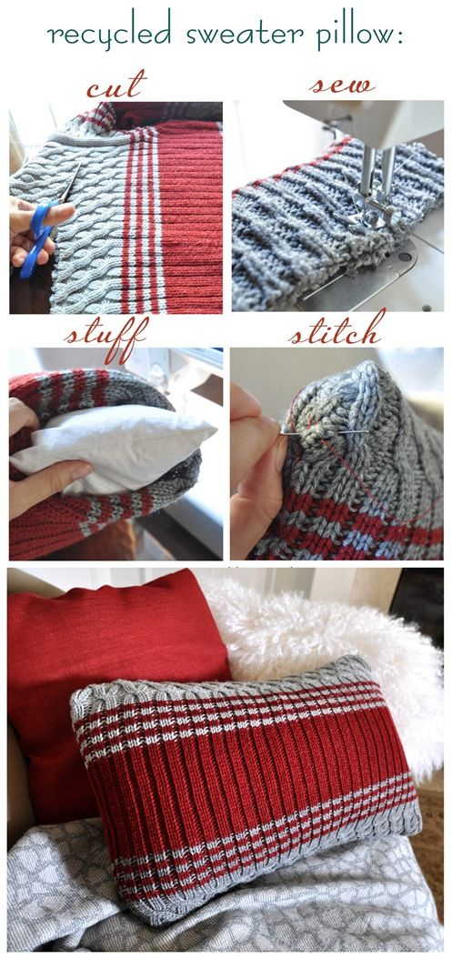 Love this idea...cheap goodwill sweaters turned into pillows! Now that I finally have a sewing machine, I'm unstoppable: