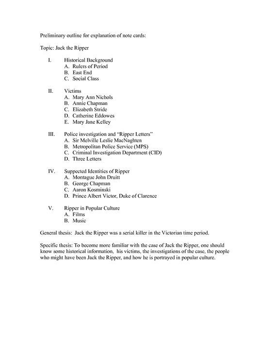 Preliminary Topic Outline Example  A Dark And Stormy Page