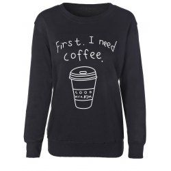 Coffee Cup Letter Casual Sweatshirt