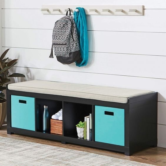 Better Homes And Gardens 4 Cube Organizer Bench Solid Black Perfect For Your Entryway Foyer Frontporch Ad Storage Bench Cube Storage Storage Bench Seating