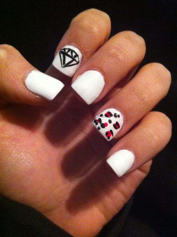 Nail art, nail design, neon nails, cheetah nails, diamond design ...