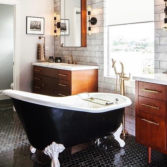 Clawfoot Tub Meets Mid Century Modern Vanities Trinsic Tub Filler And Vero Faucet Featured D Clawfoot Tub Mid Century Modern Vanity Bathroom Inspiration Modern
