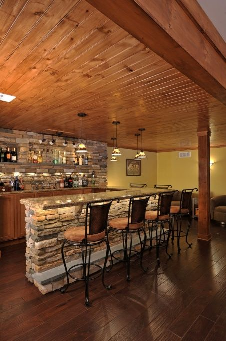 Now this home basement bar is impressive The design of the rock