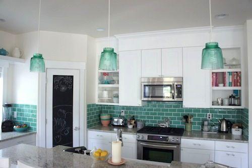 Teal Backsplash Kitchen Backsplashes Pinterest Redo