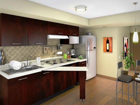 Agrega un dise o vanguardista a tu cocina con gabinetes color chocolate y cubierta beige su - Cocinas con azulejos beige ...