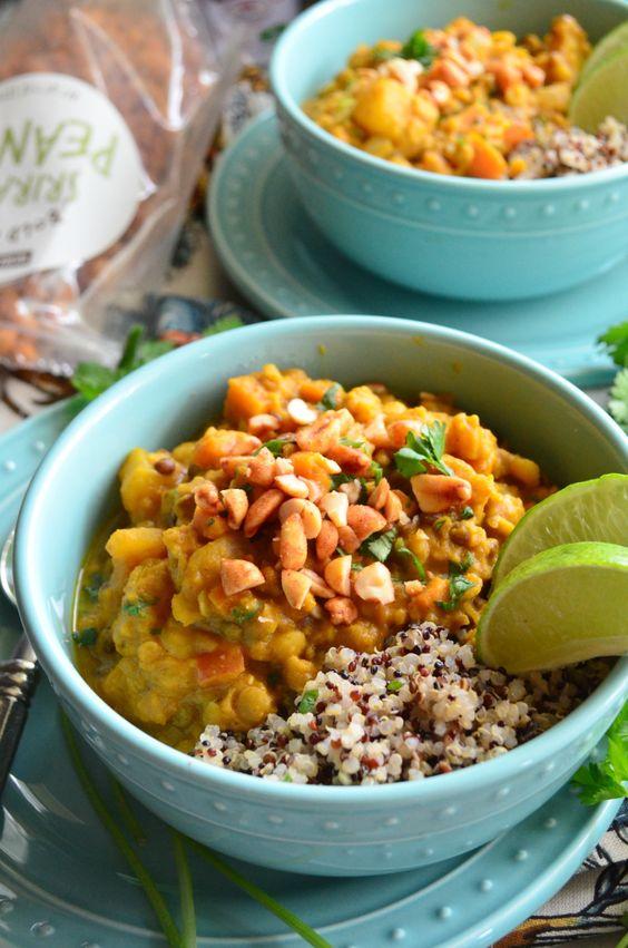 Lentil Pumpkin Curry Quinoa Bowls