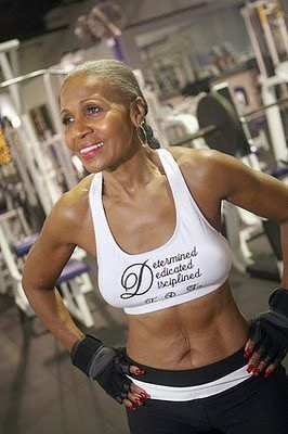 Ernestine Shepherd. Fitness instructor. Age 72. Up to 56 she was a well-padded secretary who had never worked out in her life. It's never too late! NEVER TOO LATE!