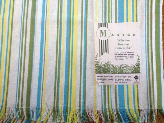 Vintage Unused Dish Towel Martex Striped Green by AStringorTwo