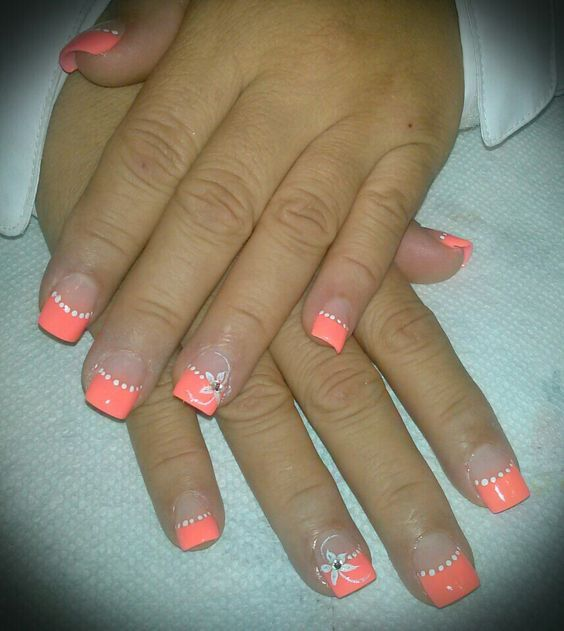 73 Peach Coral Coffin Almond Stiletto Acrylic Nail Design For Short And Long Nails Awimina Blog Simple Nails Peach Nails Peach Colored Nails