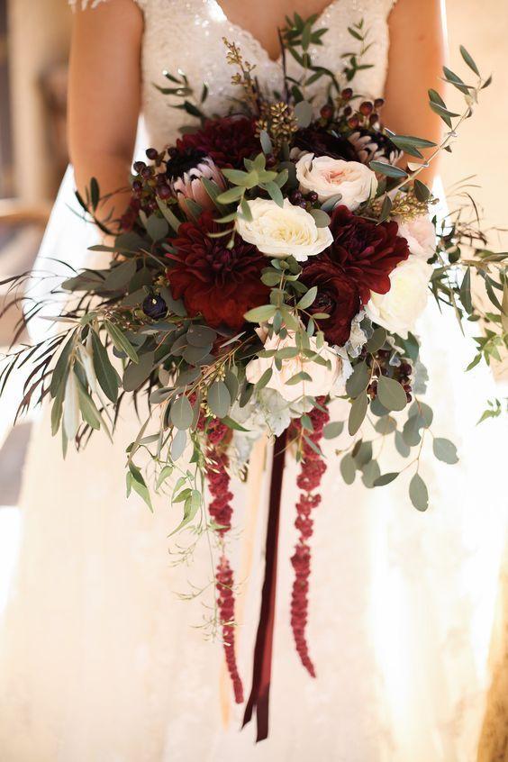 Burgundy And Blush Wedding Bouquet Fall Wedding With Greenery Blush Wedding Flowers Fall Wedding Bouquets Wedding Flowers
