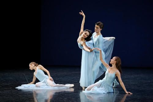 Laetitia Pujol, Mathilde Froustey, Pierre-Arthur Raveau and Ludmila Pagliero in Balanchine's Serenade