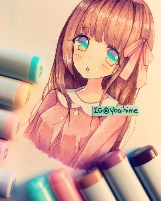 Anime girl drawing I have those Colors for the never works out for me...