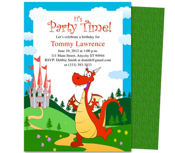 Kids birthday party invitations, Party invitation templates and ... Kids Party : Pete the Friendly Dragon Kids Birthday Party Invitation Template