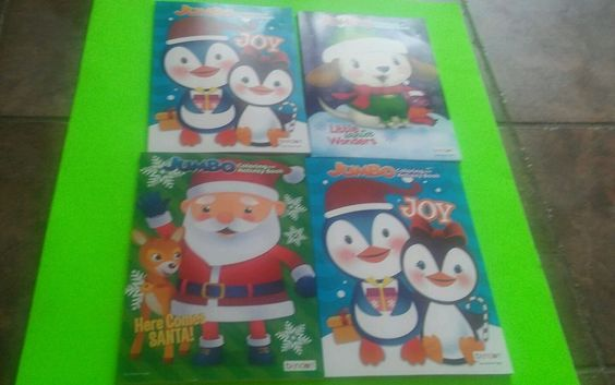 lot of 4 brand new bendon christmas jumbo coloring books