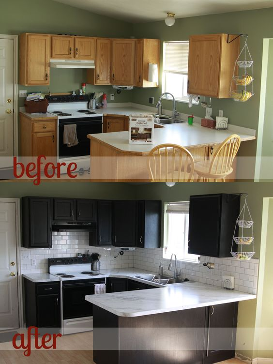 Kitchen transformation part 2 and review of rustoleum for Painting kitchen countertops before and after