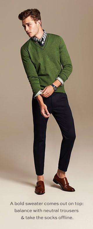 A bold sweater comes out on top: balance with neutral trousers & take the socks offline.