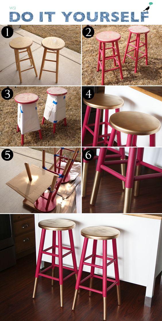 diy banco bicolor; bicolor stool: