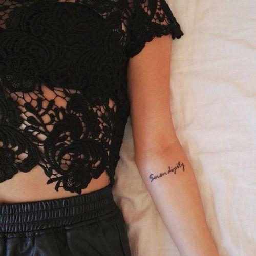 """cutelittletattoos: Forearm tattoo saying """"Serendipity"""" on Martina Lattuada."""