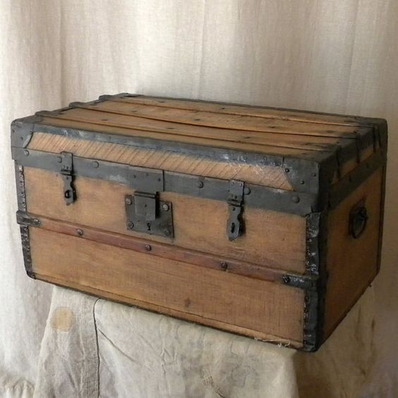 Vintage Wooden Chest French Country Decor Pirates