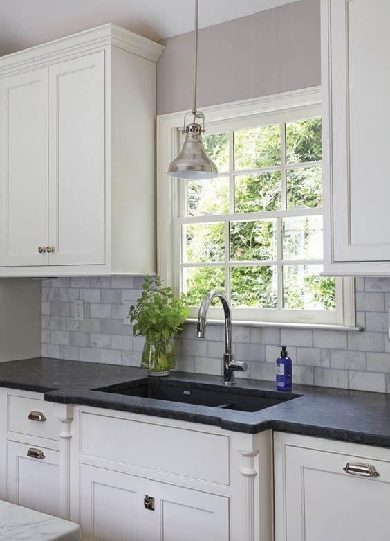 Steel Gray Granite Countertop Installation In Woodridge Nj Steel Gray Granite Countertop Granite Countertops Kitchen Kitchen Design Kitchen Remodel Countertops